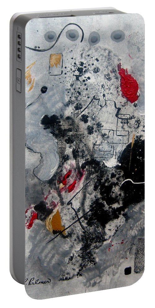 Abstract Portable Battery Charger featuring the painting Moods II by Ruth Palmer