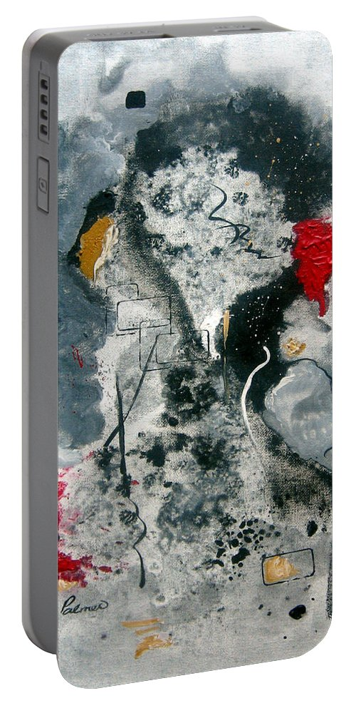 Abstract Portable Battery Charger featuring the painting Moods by Ruth Palmer