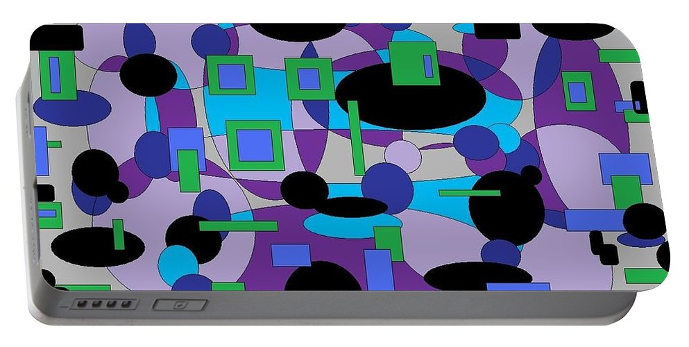 Digital Abstract Portable Battery Charger featuring the digital art Moody Purple by Jordana Sands