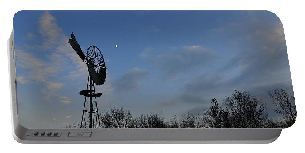 Wind Portable Battery Charger featuring the photograph Moon And Windmill by David Arment