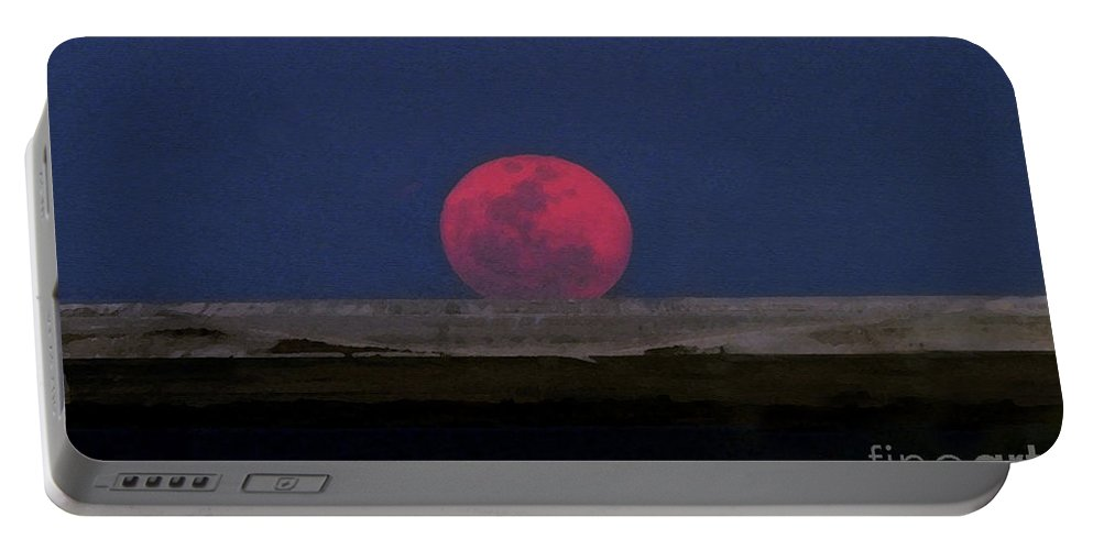Moon Portable Battery Charger featuring the painting Moon At Perigee by David Lee Thompson