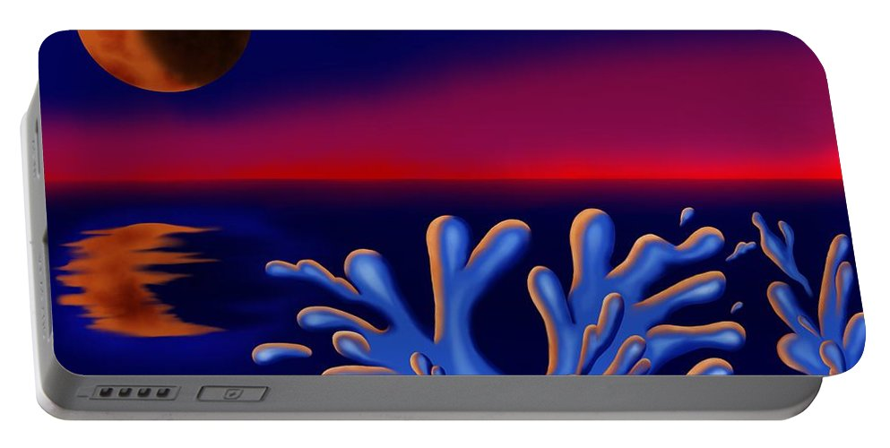 Surrealism Portable Battery Charger featuring the digital art Moon-glow II by Robert Morin