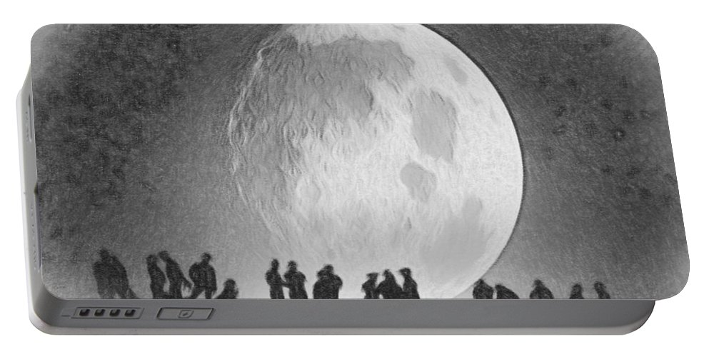 Gold Portable Battery Charger featuring the painting Moon - Id 16236-105000-9534 by S Lurk