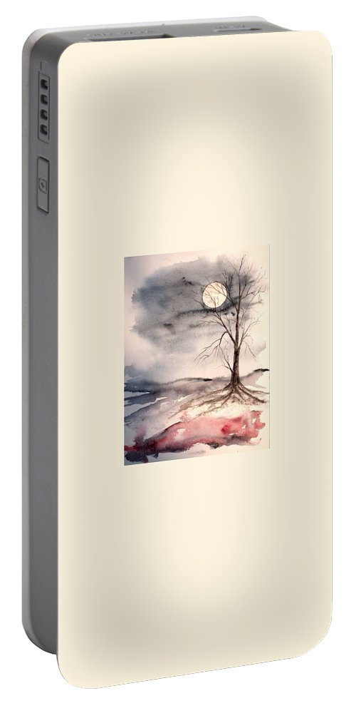 Moon Portable Battery Charger featuring the painting Moon Light by Derek Mccrea
