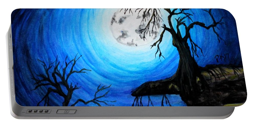 Moon Portable Battery Charger featuring the painting Moon Lit by Patty Vanberkom
