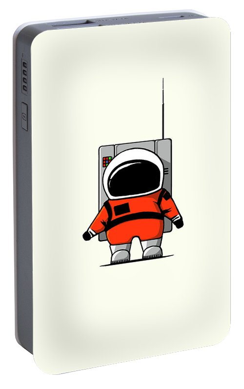 Ink-pen Portable Battery Charger featuring the digital art Moon Man by Nicholas Ely