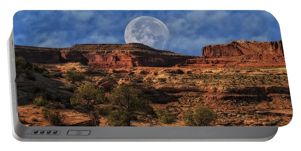 Canyonlands National Park Portable Battery Charger featuring the photograph Moon Over Canyonlands by Mitch Johanson