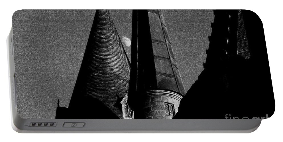 Hogwarts Portable Battery Charger featuring the painting Moon Over Hogwarts by David Lee Thompson