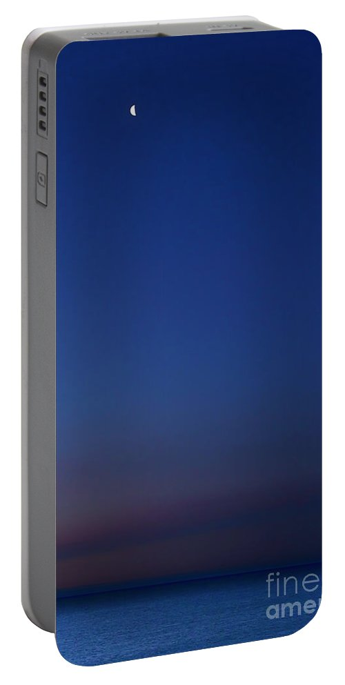 Clouds Portable Battery Charger featuring the photograph Moon Over Michigami by Thomas R Fletcher