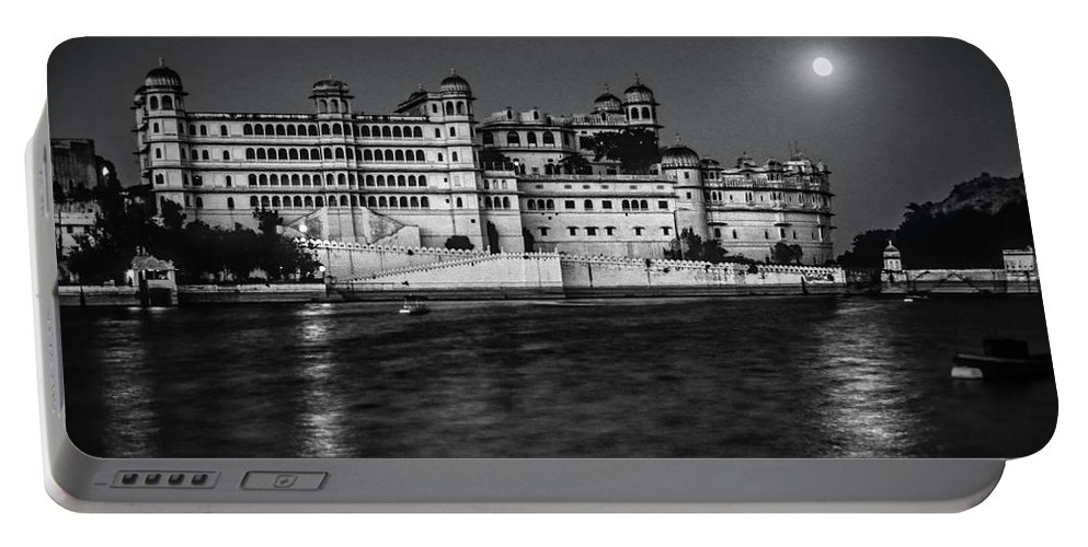 India Portable Battery Charger featuring the photograph Moon Over Udaipur Bw by Steve Harrington