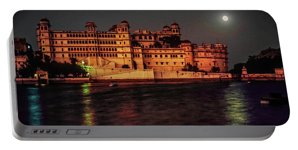 India Portable Battery Charger featuring the photograph Moon Over Udaipur by Steve Harrington