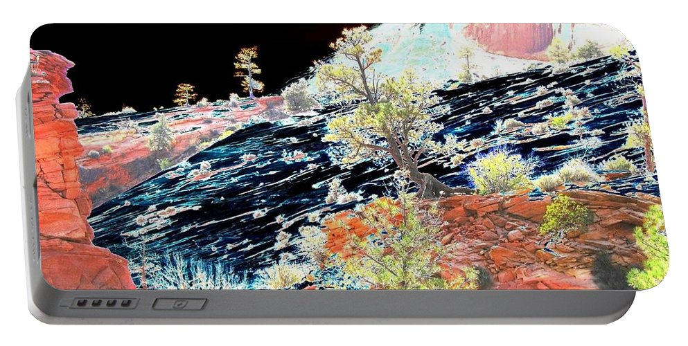 Photo Design Portable Battery Charger featuring the digital art Moon Over Utah by Will Borden