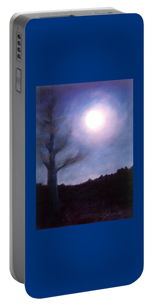 Moon Prayer Tree Portable Battery Charger featuring the painting Moon Prayer Tree by Maryanna Bock