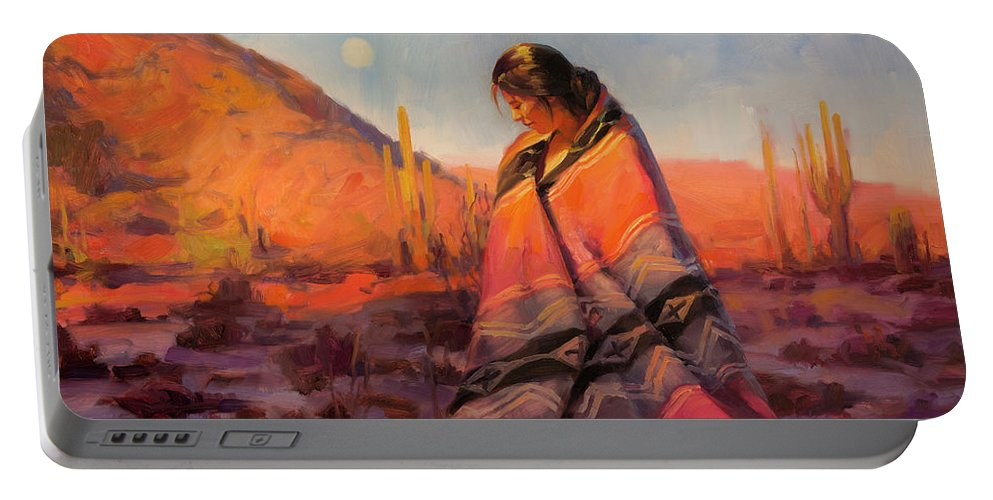Southwest Portable Battery Charger featuring the painting Moon Rising by Steve Henderson