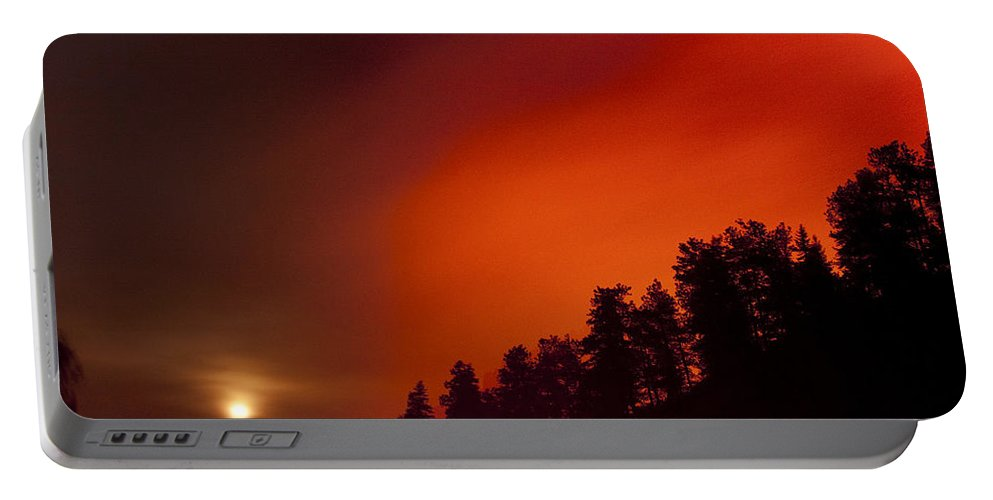 Wild Fire Portable Battery Charger featuring the photograph Moon Rising With A Wild Fire by James BO Insogna