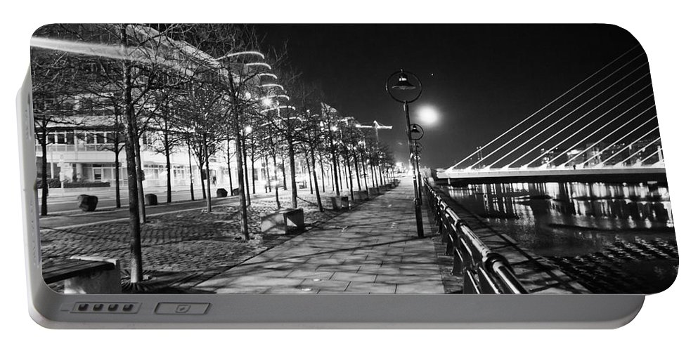 The Convention Centre Reflection Portable Battery Charger featuring the photograph Moon Romance Bw by Alex Art and Photo