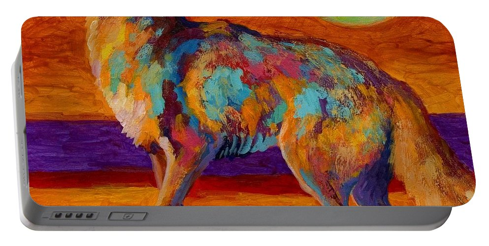 Coyote Portable Battery Charger featuring the painting Moon Talk - Coyote by Marion Rose