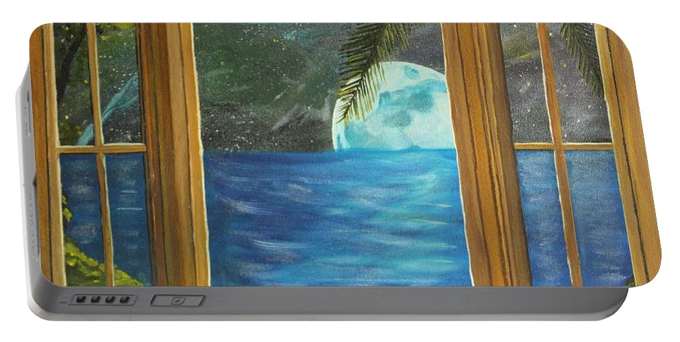 Blue Moon Portable Battery Charger featuring the painting Moon Window by David Bigelow