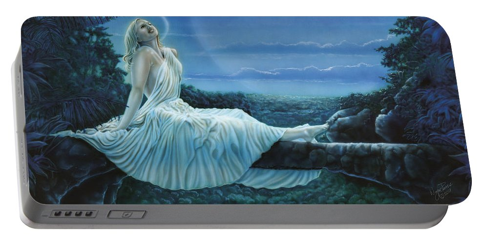 North Dakota Artist Portable Battery Charger featuring the painting Moonbeams by Wayne Pruse