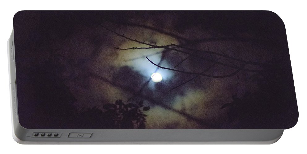 Full Moon Portable Battery Charger featuring the photograph Moonlight And Branch 2 by Totto Ponce