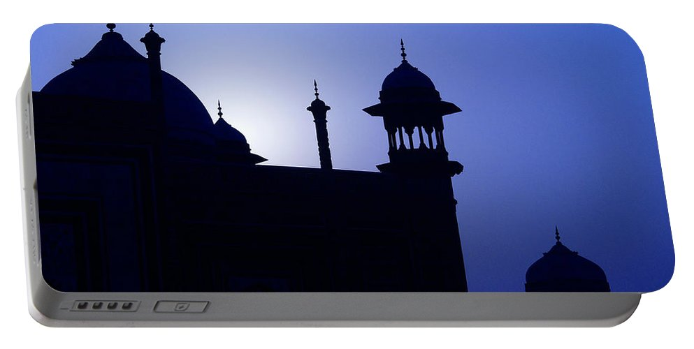 Mosque Portable Battery Charger featuring the photograph Moonlight And Minarets by Michele Burgess