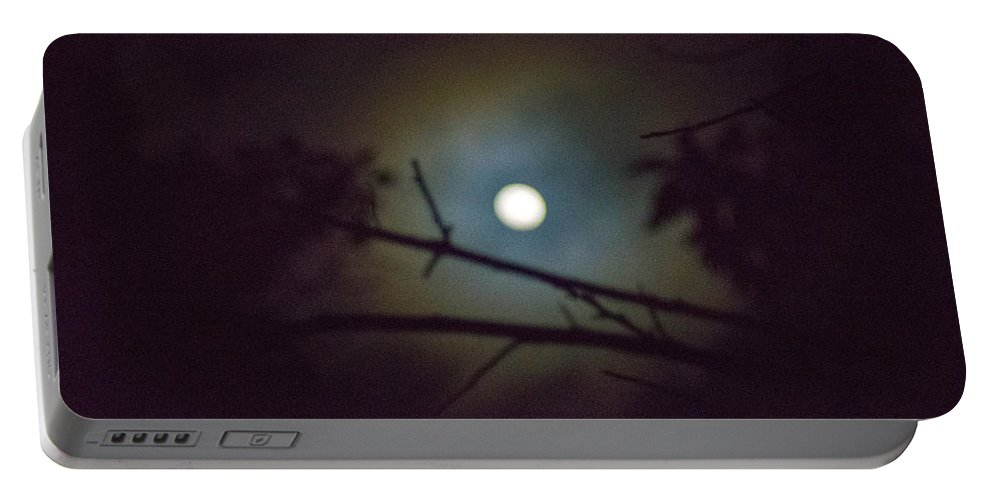 The Moon Portable Battery Charger featuring the photograph Moonlight And Tree 3 by Totto Ponce