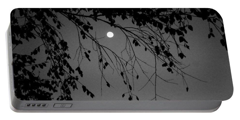 Moon Portable Battery Charger featuring the photograph Moonlight - B And W by Arlane Crump
