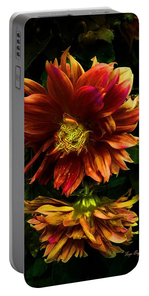 Flowers Portable Battery Charger featuring the digital art Moonlight Dahlia by Faye English