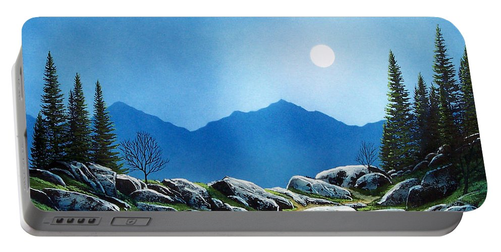 Landscape Portable Battery Charger featuring the painting Moonlight Hike by Frank Wilson