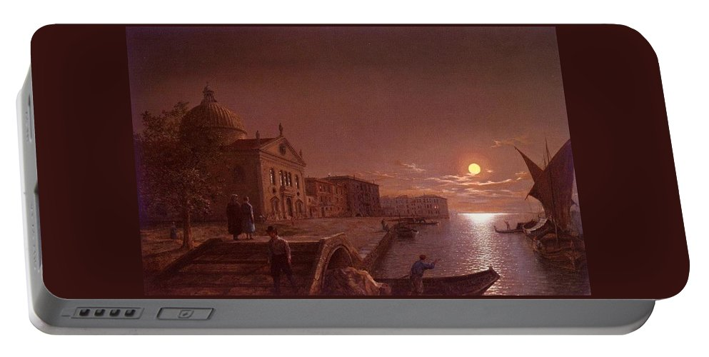 Palace Portable Battery Charger featuring the digital art Moonlight In Venice Henry Pether by Eloisa Mannion