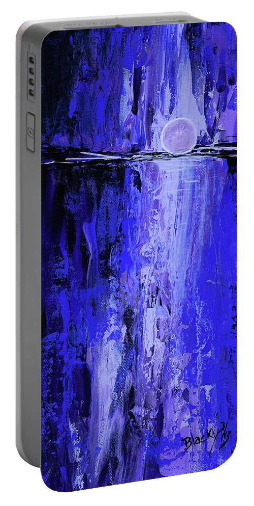 Moonlight Portable Battery Charger featuring the painting Moonlight Madness by Donna Blackhall