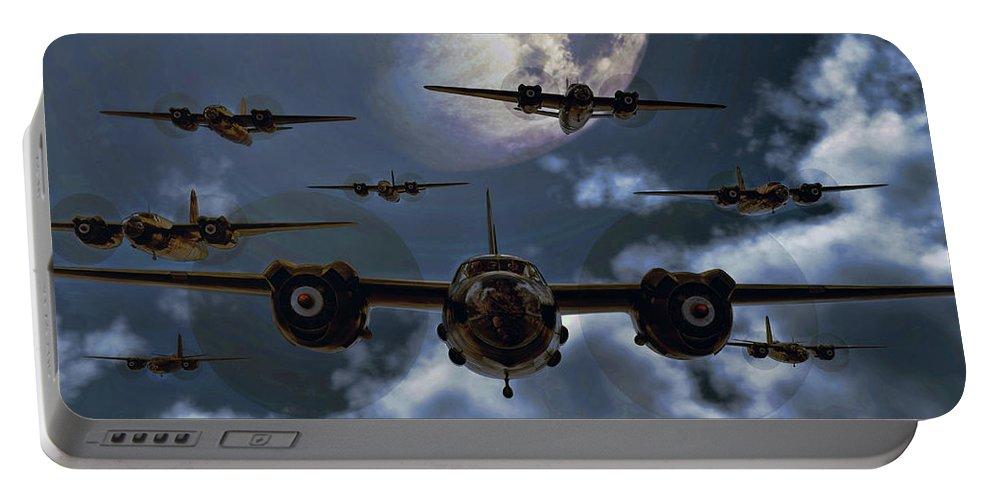 B-26 Portable Battery Charger featuring the digital art Moonlight Marauders by Dave Luebbert