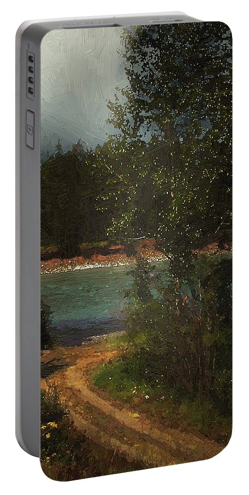 Forest Portable Battery Charger featuring the painting Moonlight Mile by RC DeWinter