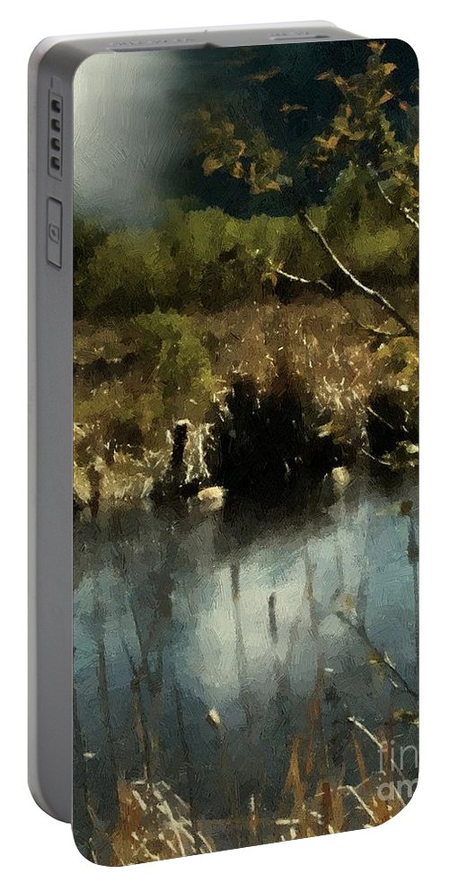 Autumn Portable Battery Charger featuring the painting Moonlight On Canadian Lake by RC DeWinter