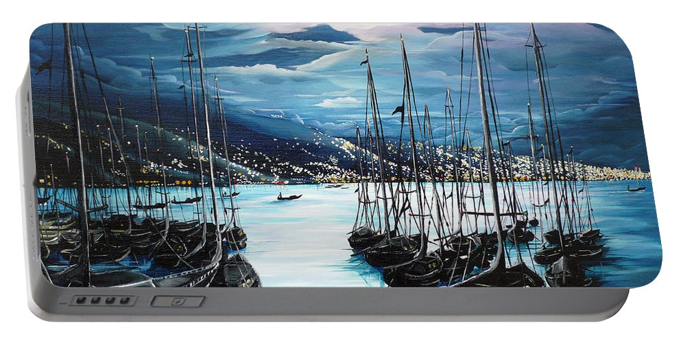 Ocean Painting  Caribbean Seascape Painting Moonlight Painting Yachts Painting Marina Moonlight Port Of Spain Trinidad And Tobago Painting Greeting Card Painting Portable Battery Charger featuring the painting Moonlight Over Port Of Spain by Karin Dawn Kelshall- Best