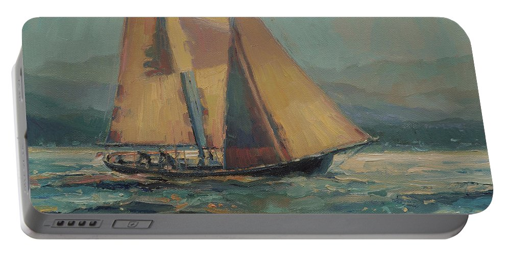 Sailboat Portable Battery Charger featuring the painting Moonlight Sail by Steve Henderson