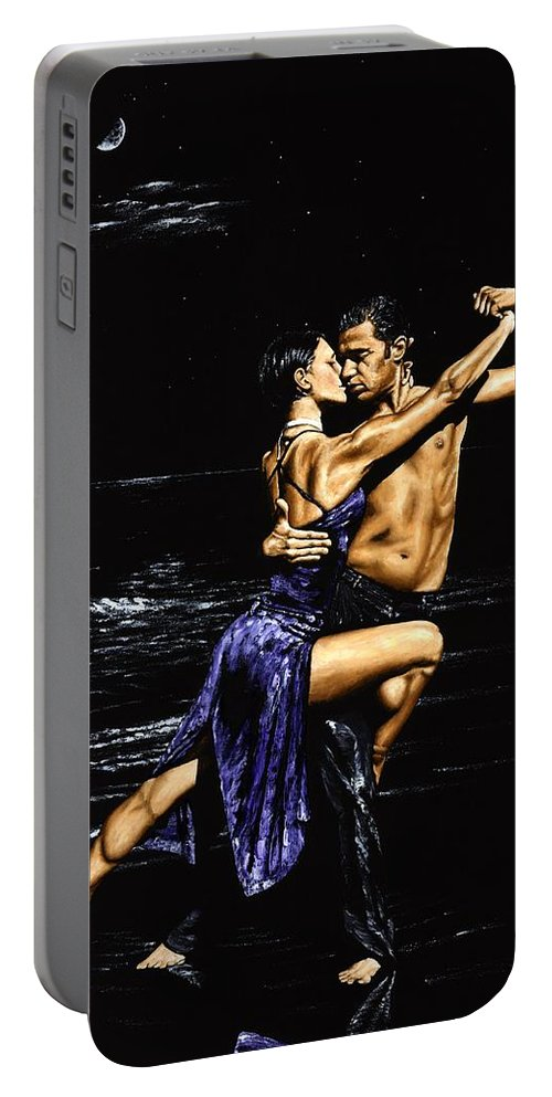 Moonlight Portable Battery Charger featuring the painting Moonlight Tango by Richard Young