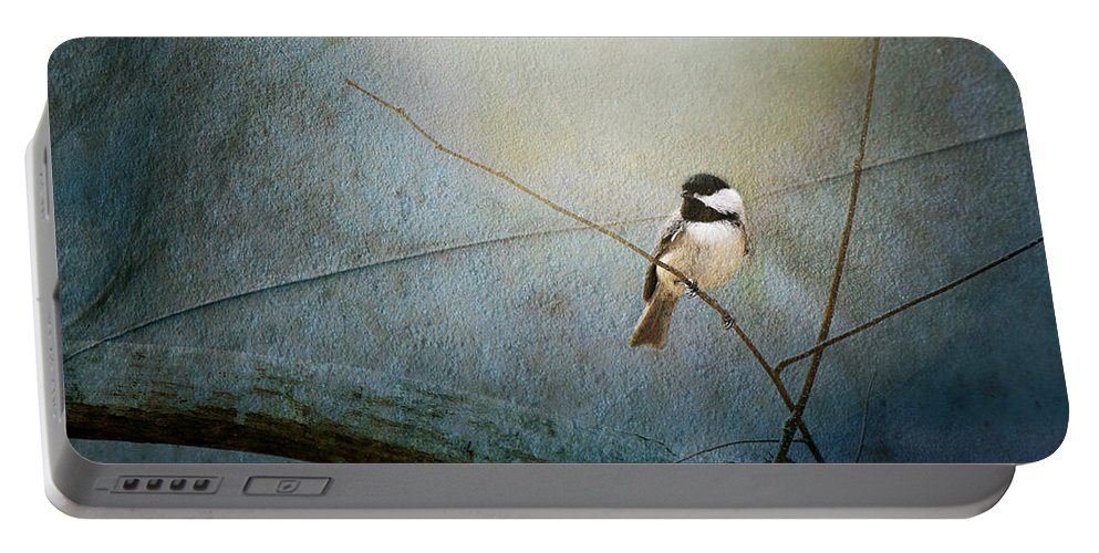 Bird Portable Battery Charger featuring the photograph Moonlit Chickadee by Sari Sauls