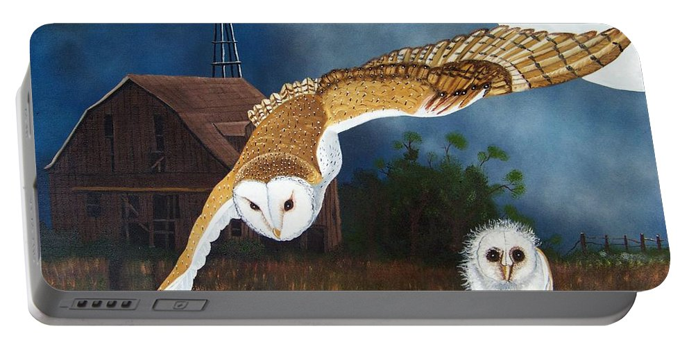 Owl Portable Battery Charger featuring the painting Moonlit Flight by Debbie LaFrance