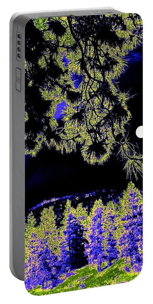 Abstract Portable Battery Charger featuring the digital art Moonlit High Country by Will Borden