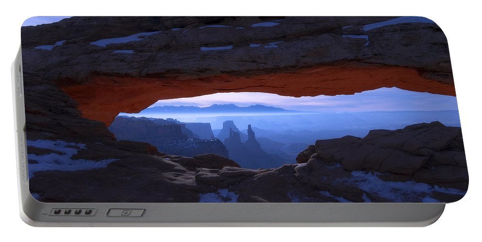 Moonlit Mesa Portable Battery Charger featuring the photograph Moonlit Mesa by Chad Dutson
