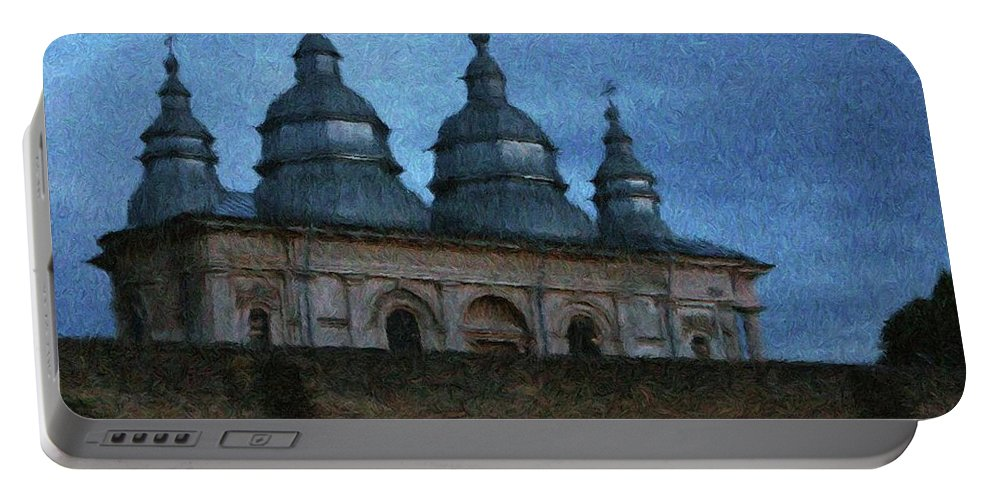 Chapel Portable Battery Charger featuring the painting Moonlit Monastery by Jeffrey Kolker
