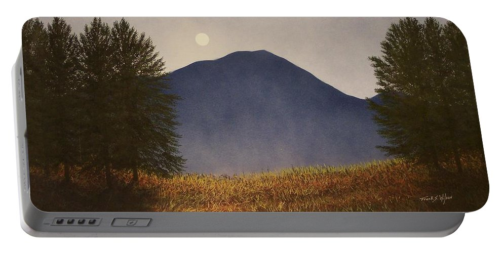 Mountains Portable Battery Charger featuring the painting Moonlit Mountain Meadow by Frank Wilson
