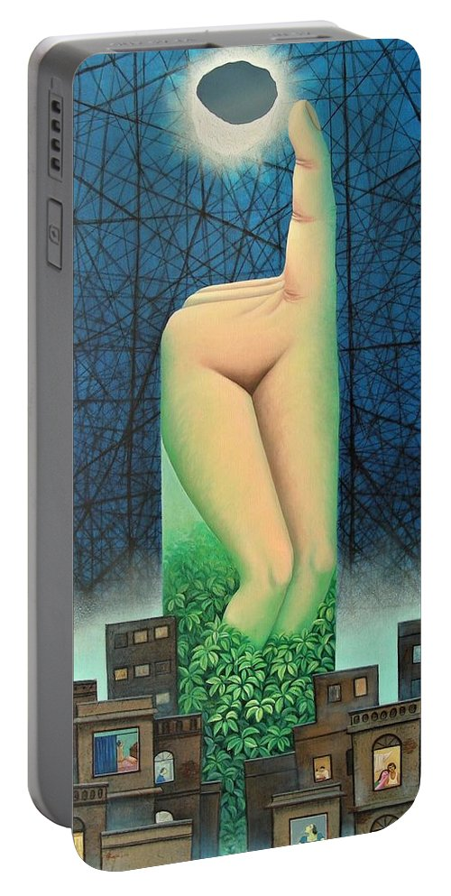 Romantic Portable Battery Charger featuring the painting Moonlit Night- A by Raju Bose