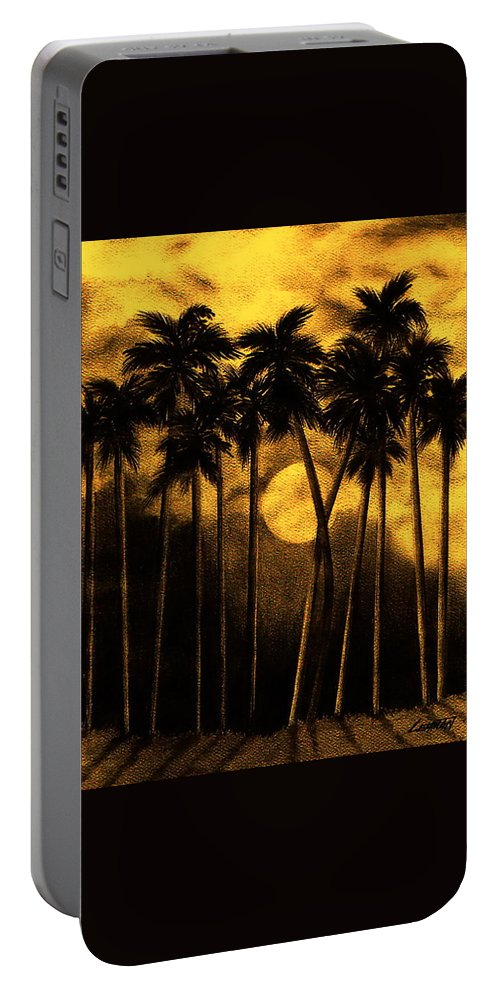 Moonlit Palm Trees In Yellow Portable Battery Charger featuring the mixed media Moonlit Palm Trees In Yellow by Larry Lehman