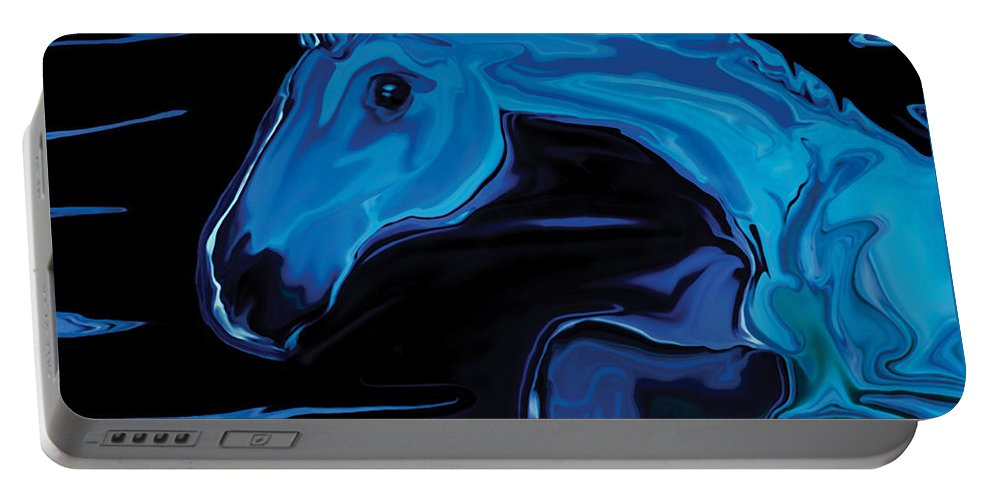 Animal Portable Battery Charger featuring the digital art Moonlit Run by Rabi Khan