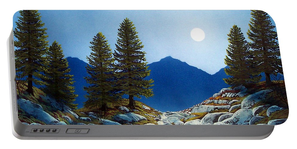 Landscape Portable Battery Charger featuring the painting Moonlit Trail by Frank Wilson