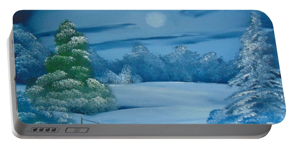 Bob Ross Style Portable Battery Charger featuring the painting Moonlit Tranquility by Alan K Holt