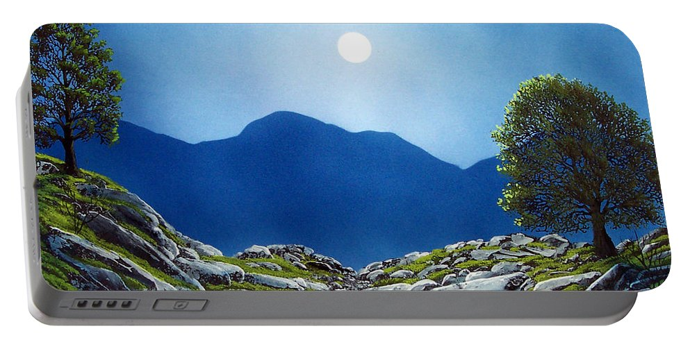 Landscape Portable Battery Charger featuring the painting Moonrise by Frank Wilson