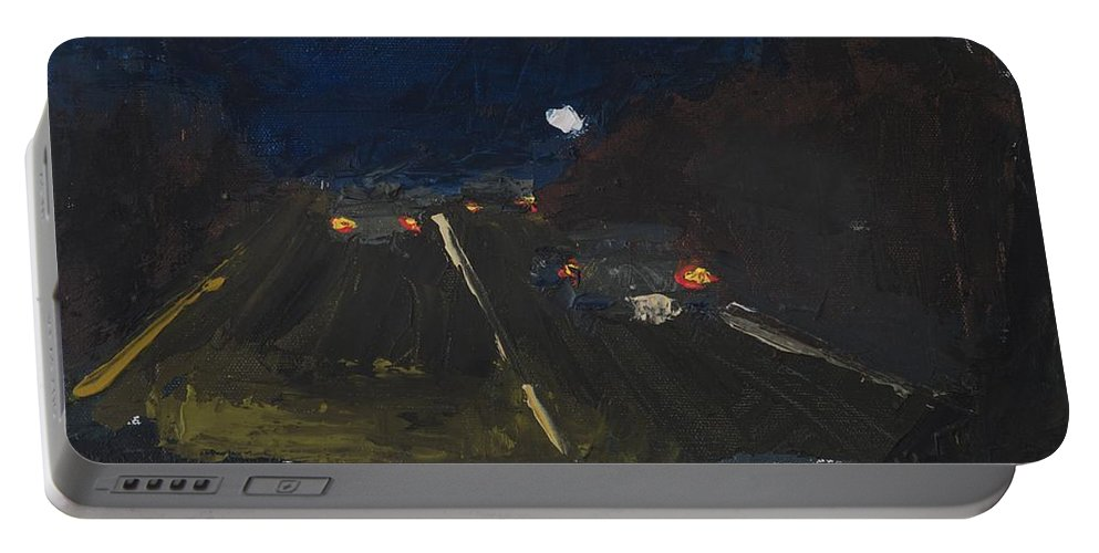Night Portable Battery Charger featuring the painting Moonrise On The Road by Gail Eisenfeld
